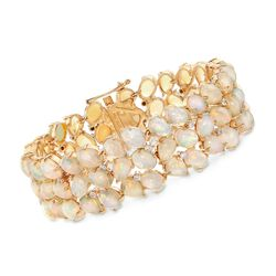 "C. 1970 Vintage Opal and .25 ct. t.w. Diamond Bracelet in 18kt Yellow Gold. 7.5"", , default"