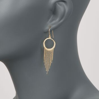 14kt Yellow Gold Circle and Tassel Drop Earrings, , default