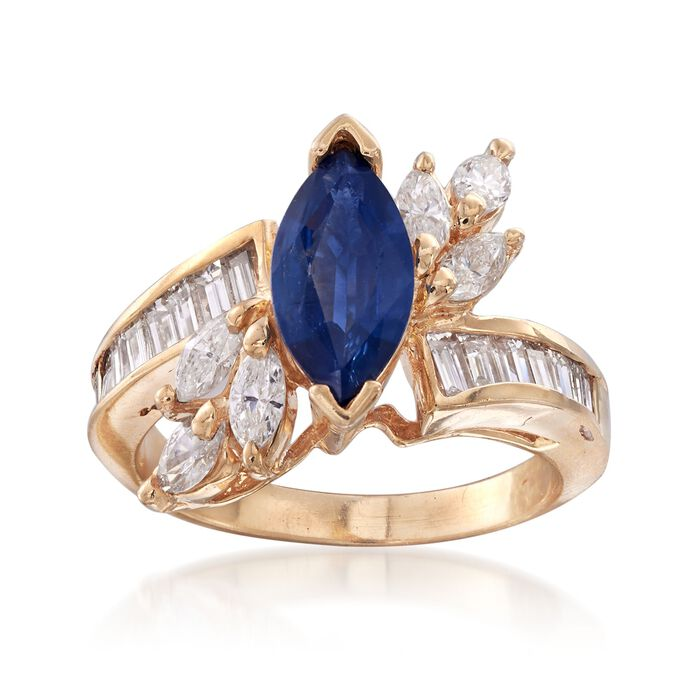 C. 1980 Vintage 1.00 Carat Sapphire and 1.30 ct. t.w. Diamond Ring in 14kt Yellow Gold. Size 5.5