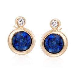 .60 ct. t.w. Bezel-Set Sapphire Earrings With Diamond Accents in 14kt Yellow Gold, , default