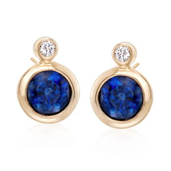.60 ct. t.w. Bezel-Set Sapphire Earrings With Diamond Accents in 14kt Yellow Gold , , default
