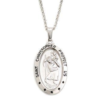 """Men's Sterling Silver """"Saint Christopher Protect Us"""" Pendant Necklace. 24"""", , default"""