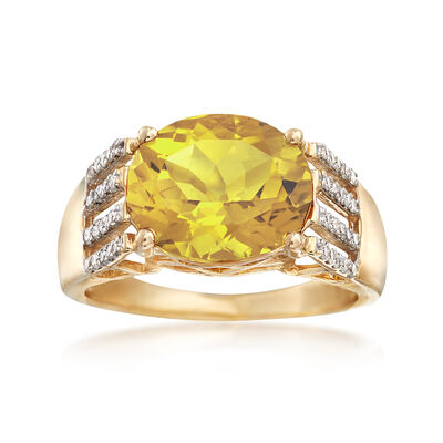 3.90 Carat Yellow Beryl and .25 ct. t.w. Diamond Ring in 14kt Yellow Gold, , default