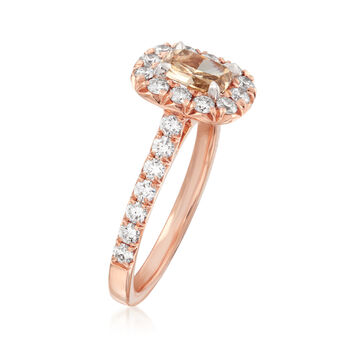 Henri Daussi 1.38 ct. t.w. Diamond Halo Engagement Ring in 18kt Rose Gold. Size 6.5