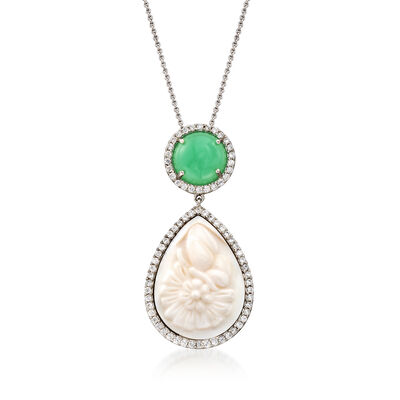 Green Chrysoprase, Shell and 1.45 ct. t.w. CZ Necklace in Sterling Silver, , default