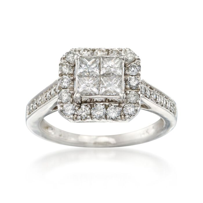 C. 1990 Vintage 1.15 ct. t.w. Princess-Cut and Round Diamond Ring in 14kt White Gold. Size 6, , default