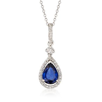 """1.30 Carat Sapphire and .18 ct. t.w. Diamond Pendant Necklace in 14kt White Gold. 16"""", , default"""