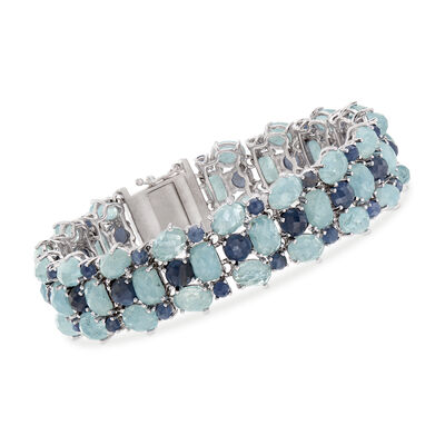 51.95 ct. t.w. Multi-Gem Bracelet in Sterling Silver