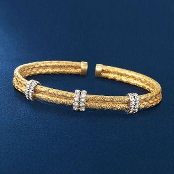 ".50 ct. t.w. Diamond Basketweave Cuff Bracelet in 14kt Gold Over Sterling. 7"", , default"