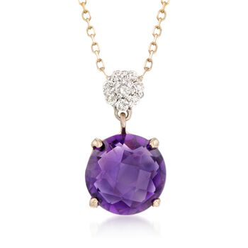 """1.70 Carat Amethyst Pendant Necklace With Diamond Accents in 14kt Yellow Gold. 16"""", , default"""