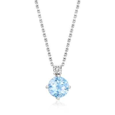 C. 1990 Vintage 2.25 Carat Aquamarine and .15 Carat Diamond Pendant Necklace in 14kt White Gold