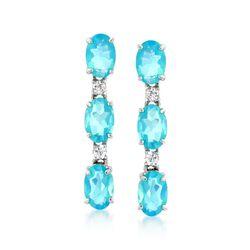 Blue Opal and .10 ct. t.w. White Zircon Linear Earrings in Sterling Silver, , default