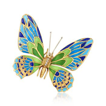 C. 1950 Vintage Garavelli Multicolored Enamel Butterfly Pin With Diamond Accents in 18kt Yellow Gold , , default