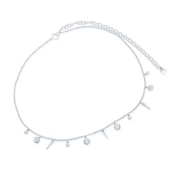 "Silver Silver Circle and Spike Charm Choker Necklace. 12"", , default"