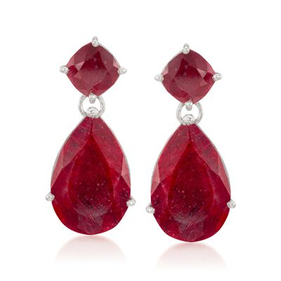 26.50 ct. t.w. Opaque Ruby Drop Earrings in Sterling Silver, , default