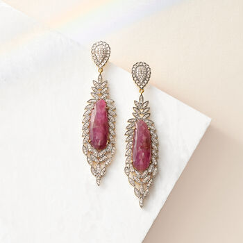 25.00 ct. t.w. Pink Sapphire and 2.40 ct. t.w. Champagne Diamond Drop Earrings in 18kt Gold Over Sterling Silver, , default