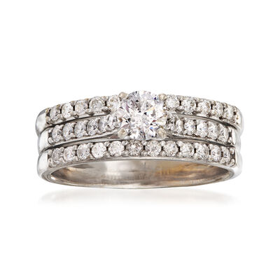 C. 1990 Vintage 1.50 ct. t.w. Diamond Engagement Ring in 18kt White Gold, , default