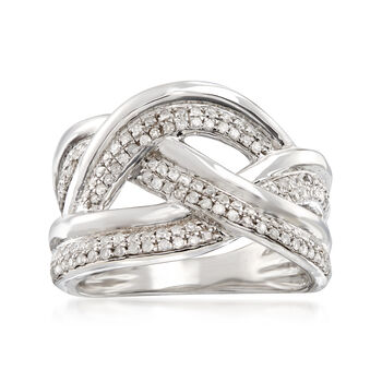 .50 ct. t.w. Diamond Woven Multi-Row Ring in Sterling Silver, , default