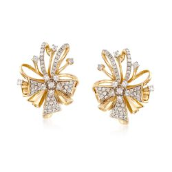 .75 ct. t.w. Diamond Bow Earrings in 14kt Yellow Gold, , default