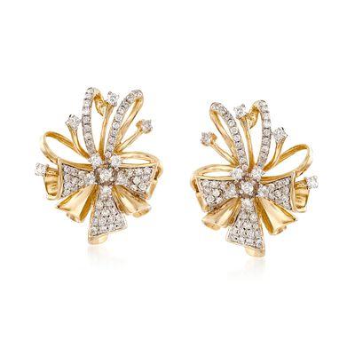 .75 ct. t.w. Diamond Bow Earrings in 14kt Yellow Gold, , default