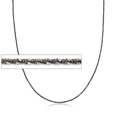 Italian Sterling Silver Adjustable Slider Crisscross Chain Necklace in Black, , default