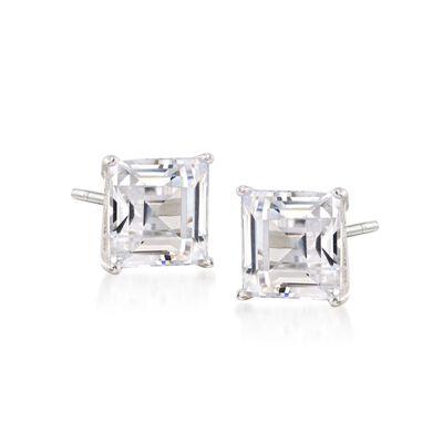 4.00 ct. t.w. Emerald-Cut CZ Stud Earrings in Sterling Silver, , default