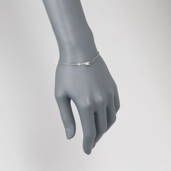 """Roberto Coin Arrow Bracelet with Diamond Accents in 18kt White Gold. 7"""""""