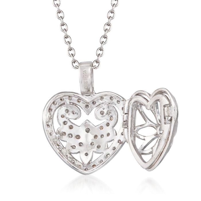 .20 ct. t.w. Diamond Fancy Heart Locket Necklace in Sterling Silver