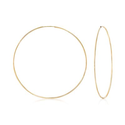 1.25mm 14kt Yellow Gold Endless Hoop Earrings, , default