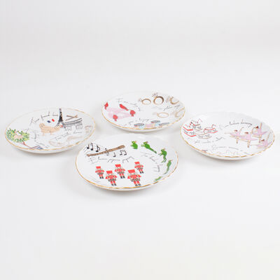 Set of 4 Twelve Days of Christmas Dessert Plates, , default
