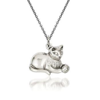 """14kt White Gold Cat Pendant Necklace. 18"""", , default"""
