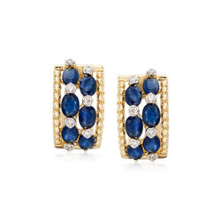 """2.50 ct. t.w. Sapphire and .16 ct. t.w. Diamond Huggie Hoop Earrings in 14kt Yellow Gold. 1/2"""", , default"""
