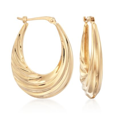 14kt Yellow Gold Oval Swirl Hoop Earrings, , default