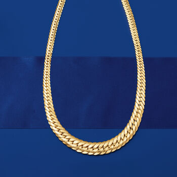 18kt Yellow Gold Graduated Cuban Link Necklace
