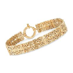 14kt Yellow Gold Two-Row Byzantine Station Bracelet, , default