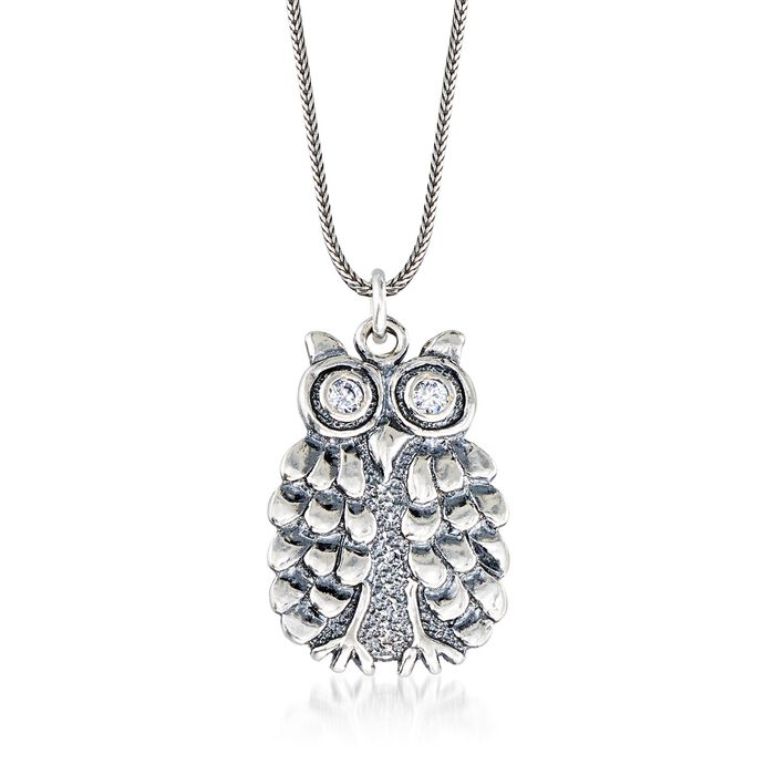 .10 ct. t.w. White Topaz Owl Necklace in Sterling Silver