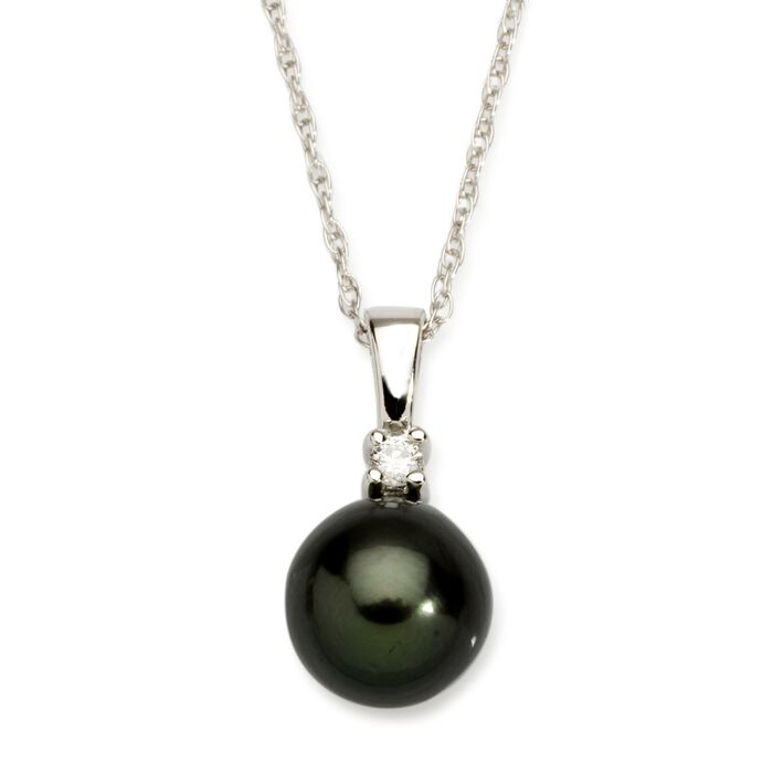"8-9mm Black Cultured Tahitian Pearl Necklace with Diamond Accent in 14kt White Gold. 18"", , default"