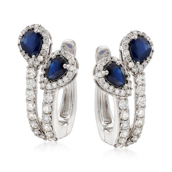 1.20 ct. t.w. Sapphire and 1.05 ct. t.w. Diamond Drop Earrings in 18kt White Gold, , default