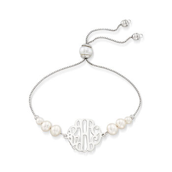 Cultured Pearl Monogram Bolo Bracelet in Sterling Silver