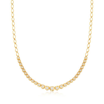 1.00 ct. t.w. Diamond Oval-Link Necklace in 18kt Gold Over Sterling, , default