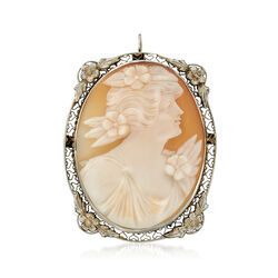 C. 1950 Vintage Shell Cameo Floral Pin Pendant in 14kt White Gold, , default