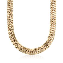 "14kt Yellow Gold Triple Row Link Necklace. 18"", , default"