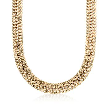 """14kt Yellow Gold Triple Row Link Necklace. 18"""", , default"""