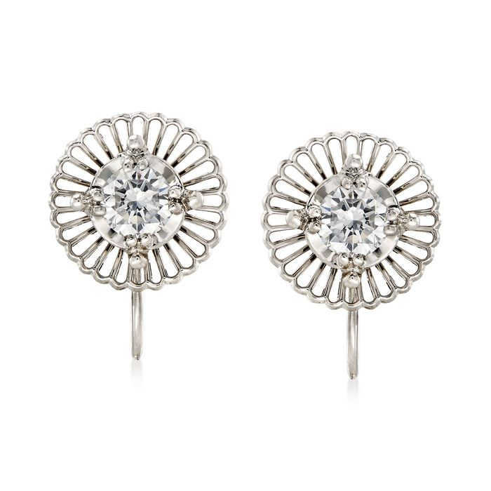C. 1960 Vintage Jabel .65 ct. t.w. Diamond Filigree Swirl Clip-On Earrings in 18kt White Gold