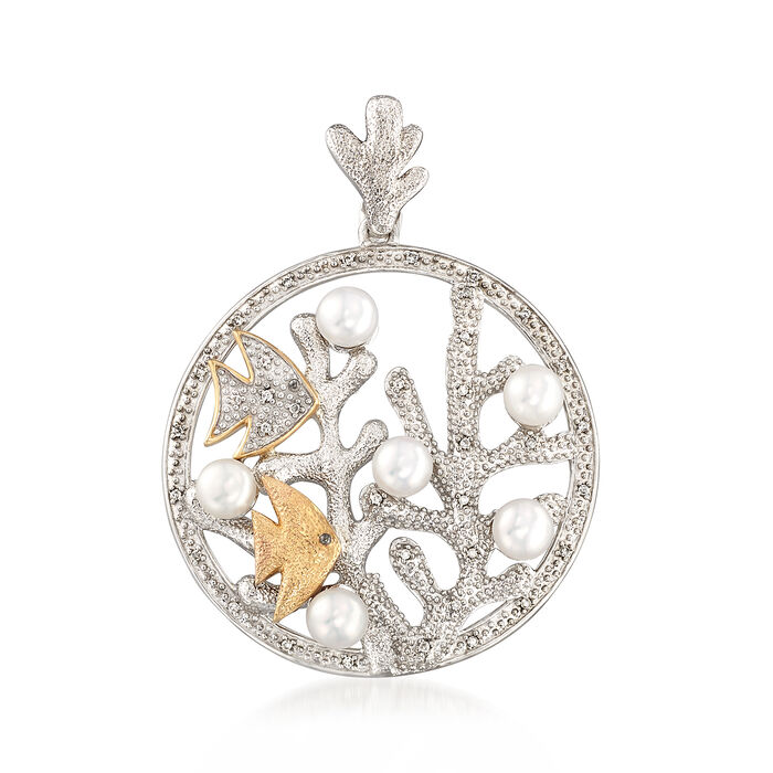 4.5-5mm Cultured Pearl and .10 ct. t.w. Diamond Seascape Pendant in Sterling Silver and 14kt Yellow Gold