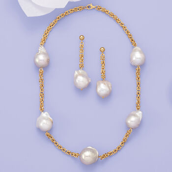 14-16mm Cultured Baroque Pearl and 14kt Gold Byzantine Chain Drop Earrings