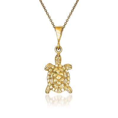 14kt Yellow Gold Sea Turtle Pendant Necklace, , default