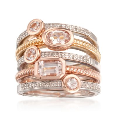 1.10 ct. t.w. Morganite and .20 ct. t.w. Diamond Jewelry Set: Set of Five Rings in Sterling Silver and 18kt Gold Over Silver