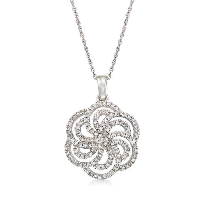 ".25 ct. t.w. Diamond Pinwheel Pendant Necklace in 14kt White Gold. 20"", , default"