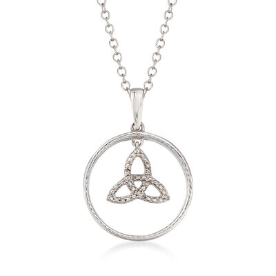 Sterling Silver Trinity Knot Pendant Necklace with Diamond Accents, , default